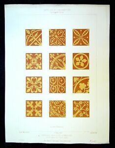 Ancienne Gravure - Carreaux incrustés émailles à LAON & a TROYES