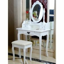 White amazing Makeup Dressing gift Table Oval Mirror & Stool 3 Drawers Bedroom