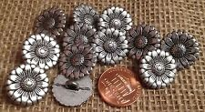 "12 Silver Tone Metal Flower Floral Daisy Shank Buttons 11/16"" 18mm 7257"