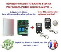 Kit récepteur universel 433.92Mhz 2 canaux rolling code & fixe + 2 télécommandes
