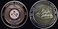 ~ USS Constitution Ship 6 ~ US Navy Recruit Training Command Challenge Coin ~