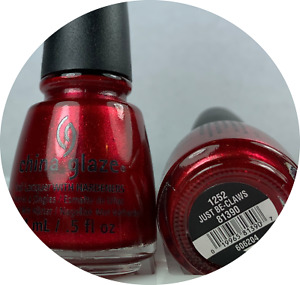 China Glaze Nail Polish * Just Be-Claws 1252 Candy Apple Red Shimmer Lacquer