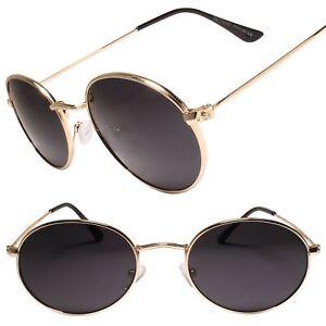 Classic Cool Vintage Retro 90s Fashion Hip Mens Womens Gold Oval Sunglasses