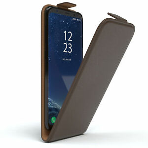 For Samsung Galaxy S8 Flip Case cover Faux Leather Protective Phone Brown