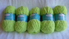 "5 Skein Lot Herrschners ""Ultra Fleece"" Bulky 100% Polyester Lime Green Soft Yarn"
