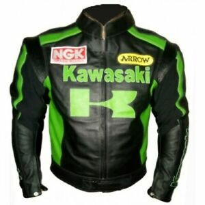 New Handmade Men Black & Green Kawasaki Biker Racing Team Motorcycle Jacket
