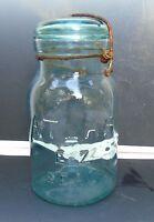Antique Atlas E-Z Seal Quart Glass Fruit Canning Jar Aqua Blue Wire Bail Lid