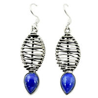 Natural Blue Lapis Lazuli 925 Sterling Silver Dangle Earrings D16095