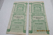 Lot of 2 Vintage Certificate of Stock The Spencer Stone Company of Ohio