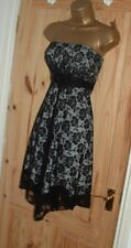 Jane Norman black cream lace strapless party prom evening cocktail dress 10 12