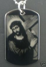 Jesus Christ Carrying Cross  Dog Tag Pendant Necklace
