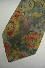 "Green Purple Gold Red Abstract Silk Tie 3.6"" Wide 56"" Long"