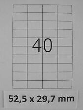 10 FEUILLES A4 de 40 ETIQUETTES  52,5 x 29,7 mm BLANCHES AUTOCOLLANTES