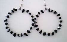 """Earrings Hoop Obsidian/AB Crystals Silver Plated 3 1/8"""" Handmade GB USA New WOT"""