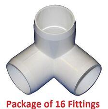 "3/4"" Furniture Grade 3-Way Corner Elbow PVC Fitting - 16 Pack"