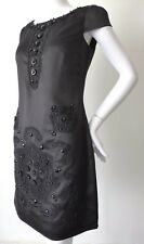 REVIEW Black Cap Sleeve Embellished Shift Dress Size 8 US 4 rrp $279.95