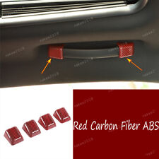 Red Carbon Fiber ABS Inner Roof Grab Handle Cover For Dodge Challenger 2015-2020