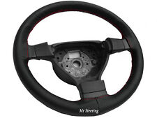 FOR VW GOLF MK5 BLACK PERFORATED ITALIAN LEATHER STEERING WHEEL COVER RED STITCH