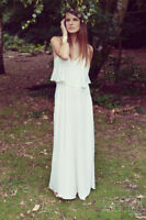 ZARA BASIC White Ruffle Spaghetting Strap Maxi Dress Size S Retail $150