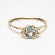 Estate 14K Yellow Gold 0.40 Ct Natural Light Blue Aquamarine And Diamond Ring