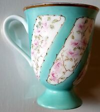 Hand-painted Porcelain Pedestal Mug -  with Baby Roses