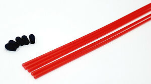 RC Receiver Wire Aerial Tube Protector Plastic Antenna Pipe Black Cap Red x 5