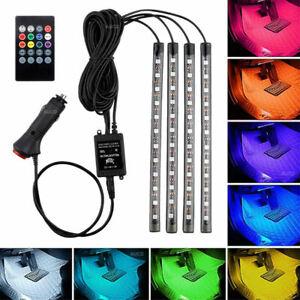 Remote 48 RGB LED Ambient Light Strips Car Cigarette Lighter Interior Decor Lamp