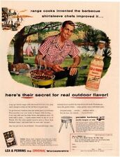 1956 LEA & PERRINS Sauce - Man Cooking On Portable Barbecue Grill VINTAGE AD