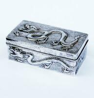 CHINESE DRAGONS Fabulous 409g SILVER CASKET BOX c1900 WANG HING