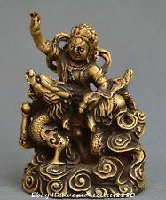 Chinese Tibet Buddhism gild bronze Ride dragon Buddha King Kong Buddha statue
