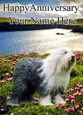 Old English Sheepdog  Happy Anniversary  PID100 A5 Personalised Greeting Card