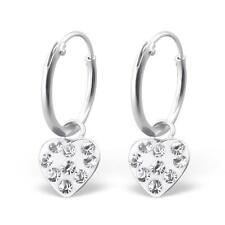 Childrens Girls | Sterling Silver Hoop Earrings | Crystal Heart - Boxed