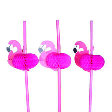 50PCS 3D Flamingo Cocktail Drinking Juice Straws Novelty Party Decoration