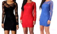 SEXY WOMEN LADIES FLORAL LACE LONG SLEEVE BODYCON PARTY DRESS TOP SIZE XS,S,M,L