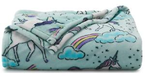 New Unicorns Plush Throw Blanket Oversized 60 x 72 Girls Gift by The Big One