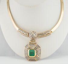 Diamond & 7.61ct Colombian Emerald Necklace Bib 14K Gold