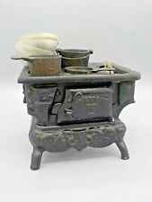 Antique Cast Iron American Miniature Stove w/Pots & Pans Salesman Sample Toy