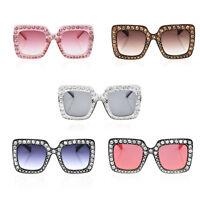 Oversized Square Frame Bling Rhinestone Sunglasses Women Fashion Shades 2018