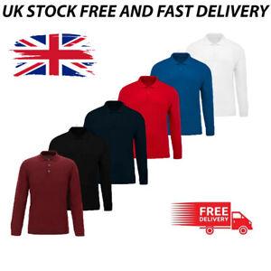 Mens Full Sleeve Polo Shirt T-Shirts Fashion Top Work Wear Cotton S M L &  XL UK