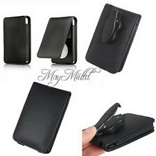 Black Leather Flip Case Cover Skin for Apple iPod Classic 80GB 120GB 160GB LS20