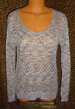 NEW! JEANS by BUFFALO DAVID BITTON MARLED SILVER GRAY POINTELLE KNIT SWEATER SM