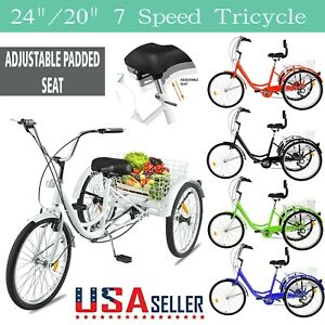 Adult Trikes 24 inch 3 Wheel Bikes with Carbon Steel Frame Folding Tricycle with Large Bike Basket Folding Trike for Women Men【US in Stock】 XINQITE Adult Tricycle 7 Speed