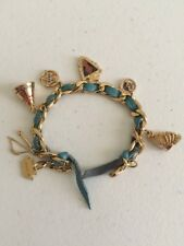 Disney Kidada Couture Pocahontas 6 Charms Turquoise Bracelet 14k Gold Plated New