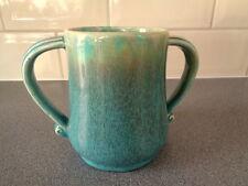 Vintage Devonmoor Pottery Art Deco 2 Handled Blue Green Drip Glazed Vase Tankard