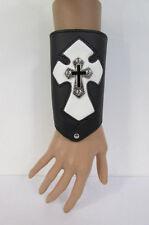 New Men Black Leather Big White Metal Cross Arm Bracelet Biker Rocker Fashion