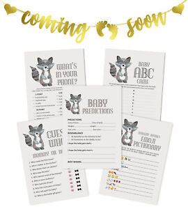 Inkdotpot Cat Baby Shower Games Bundle With Coming Soon Gold Bunting-gCL