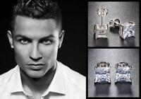 Men's Boy's Ronaldo 8mm Square 18ct White Gold Plated Diamond Crystal Earrings