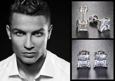 Men's Boy's Ronaldo 8mm Square 18ct White Gold Plated Diamond Crystal Earrings