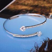 1PC Double Trendy Heart-Shaped Gold Silver Bracelet Open Rose Gold Bangles