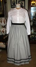 CIVIL WAR DRESS~FRONTIER~VICTORIAN STYLE-100% COTTON GRAY WORK/CAMP SKIRT